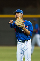 AZL Cubs 2 shortstop Miguel Pabon (13) throws the ball around the infield during an Arizona League game against the AZL Indians 2 at Sloan Park on August 2, 2018 in Mesa, Arizona. The AZL Indians 2 defeated the AZL Cubs 2 by a score of 9-8. (Zachary Lucy/Four Seam Images)