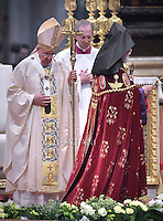 Pope Francis Aram I Kechichian  head of the Catholicosate of the Great House of Cilicia, in the Sunday's Mass in the Armenian Catholic rite at Peter's Basilica  at the Vatican, on April 12, 2015.