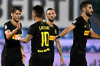 Antonio Candreva of FC Internazionale celebrates with team mtes Lautaro Martinez and Marcelo Brozovic after scoring the goal of 0-1 during the Serie A football match between SPAL and Internazionale FC at Paolo Mazza stadium in Ferrara ( Italy ), July 16th, 2020. Play resumes behind closed doors following the outbreak of the coronavirus disease. Photo Andrea Staccioli / Insidefoto