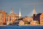 Old North Church and the Zakim Bridge on Boston Harbor, Boston, MA, USA