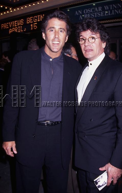 "Christopher Lawford and Jean LeClerc attend a performance of ""On The Waterfront"" on May 1, 1995 at the Brooks Atkinson Theatre in New York City."