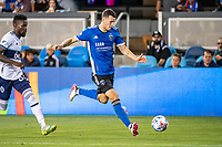 SAN JOSE, CA - AUGUST 13: Nathan Cardoso #13 of the San Jose Earthquakes dribbles the ball during a game between San Jose Earthquakes and Vancouver Whitecaps at PayPal Park on August 13, 2021 in San Jose, California.