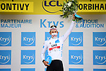 Tadej Pogacar (SLO) UAE Team Emirates retains the young riders White Jersey at the end of Stage 3 of the 2021 Tour de France, running 182.9km from Lorient to Pontivy, France. 28th June 2021.  <br /> Picture: A.S.O./Pauline Ballet | Cyclefile<br /> <br /> All photos usage must carry mandatory copyright credit (© Cyclefile | A.S.O./Pauline Ballet)