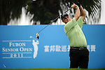 TAIPEI, TAIWAN - NOVEMBER 18:  Sandy Lyle of Scotland tees off on the 1st hole during day one of the Fubon Senior Open at Miramar Golf & Country Club on November 18, 2011 in Taipei, Taiwan.  Photo by Victor Fraile / The Power of Sport Images