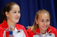 Tenis, Fed Cup 2011, play-off for group A.Slovakia Vs. Serbia, Official Draw.Bojana Jovanovska and Aleksandra Krunic, right. Bratislava, 15.04.2011..foto: Srdjan Stevanovic/Starsportphoto ©