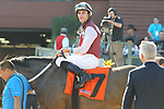 HOT SPRINGS, AR - MARCH 18: Jockey Chris Landeros aboard Streamline #7 after winning the Azeri Stakes race at Oaklawn Park on March 18, 2017 in Hot Springs, Arkansas. (Photo by Justin Manning/Eclipse Sportswire/Getty Images)