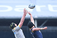 14th February 2021; Sixways Stadium, Worcester, Worcestershire, England; Premiership Rugby, Worcester Warriors versus Wasps; James Gaskell of Wasps wins the lineout ball under pressure from Graham Kitchener of Worcester Warriors