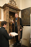 John Stow changing the Quill Ceremony at St Andrew Undershaft church City of London UK. The Master of the Merchant Taylors Company changes the John Stow Quill every three years.
