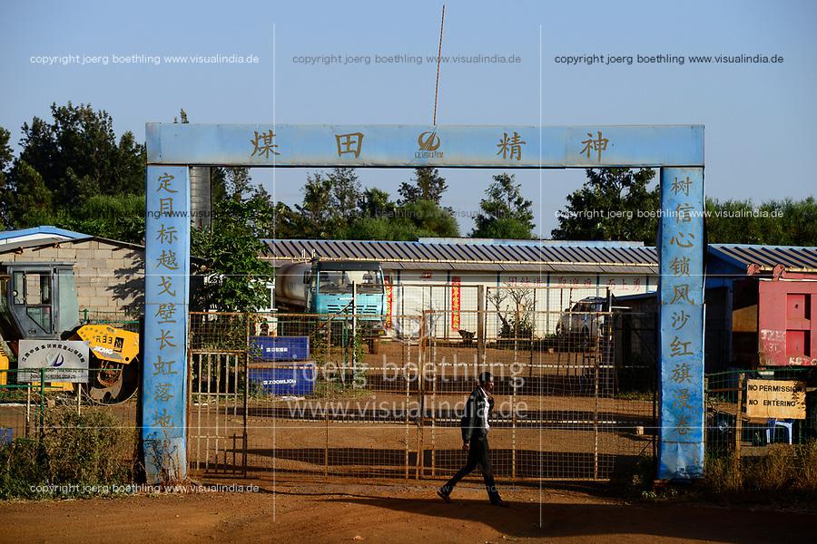 KENYA, Marsabit, chinese construction company, road construction / KENIA, Marsabit, chinesische Baufirma, Strassenbau