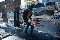 copyright : Magali Corouge /Documentography<br />Taksim square, Istanbul, Turkey, the 11th of June 2013. <br /><br />Turkish protestors behind barricades. Police started to evacuate Taksim square, on the early morning of the 11th of June, after more than a week of occupation.