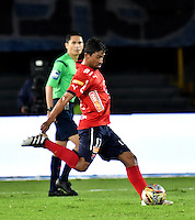 BOGOTA - COLOMBIA - 20-11-2016: Cristian Marrugo, jugador de Deportivo Independiente Medellin, en acción, durante partido de la fecha 20 entre Millonarios y Deportivo Independiente Medellin de la Liga Aguila II-2016, jugado en el estadio Nemesio Camacho El Campin de la ciudad de Bogota.  / Cristian Marrugo, player of Deportivo Independiente Medellin, in action during a match between Millonarios and Deportivo Independiente Medellin, for the date 20 of the Liga Aguila II-2016 at the Nemesio Camacho El Campin Stadium in Bogota city, Photo: VizzorImage / Luis Ramirez / Staff.
