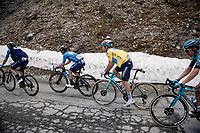 yellow jersey / GC leader Alexey Lutsenko (KAZ/Astana - Premier Tech) up the Cormet de Roselend (2cat/1968m/5.7km@6.5%)<br /> <br /> 73rd Critérium du Dauphiné 2021 (2.UWT)<br /> Stage 7 from Saint-Martin-le-Vinoux to La Plagne (171km)<br /> <br /> ©kramon
