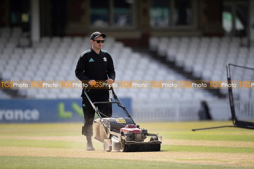 General pitch preparation prior to the days play during Surrey CCC vs Hampshire CCC, LV Insurance County Championship Group 2 Cricket at the Kia Oval on 30th April 2021