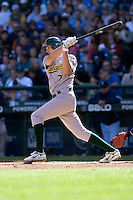 September 28, 2008: Oakland Athletics shortstop Bobby Crosby at-bat during a game against the Seattle Mariners at Safeco Field in Seattle, Washington.