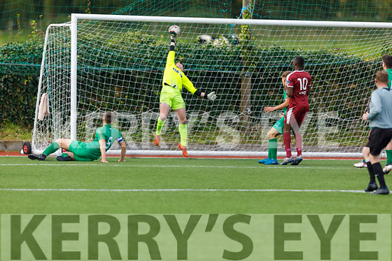 Kerry keeper Dylan Doona tips this Galway effort out for a corner in the U19 Soccer league on Sunday