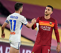 Football, Serie A: AS Roma - Atalanta Olympic stadium, Rome, April 22, 2021. <br /> Atalanta's captain Remo Freuler (l) greets Roma's captain Lorenzo Pellegrini (r) at the end of the Italian Serie A football match between AS Roma and Atalanta at Rome's Olympic stadium, Rome, on April 22, 2021.  <br /> UPDATE IMAGES PRESS/Isabella Bonotto