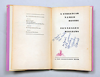 "BNPS.co.uk (01202) 558833. <br /> Pic: PeterHarrington/BNPS<br /> <br /> Pictured: The title page of the book with Brando's message. <br /> <br /> A rare first edition book which is inscribed by Hollywood legend Marlon Brando has emerged for sale for £15,000.<br /> <br /> The Godfather actor wrote a personal message on the title page of the copy of Tennessee Williams' 'A Streetcar Named Desire' in 1947. He was starring in the play on Broadway at the time.<br /> <br /> Brando, who was still relatively unknown, penned some sweet words to 'Carol', the daughter of fellow cast member Peg Hillias.<br /> <br /> It was given to her as a 16th birthday present and Brando wrote: ""To Carol, with warm affection, Marlon Brando.""<br /> <br /> The book, which was signed by the majority of the cast, is now being sold by London-based book dealer Peter Harrington."
