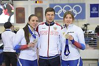 SPEEDSKATING: 14-02-2020, Utah Olympic Oval, ISU World Single Distances Speed Skating Championship, Podium 500m Ladies, Angelina Golikova (RUS), Sergey Klevchenya (coach RUS), Olga Fatkulina (RUS), ©Martin de Jong