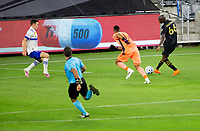 LOS ANGELES, CA - SEPTEMBER 02: Bradley Wright-Phillips #66 of the Los Angeles Football Club takes a shot past Daniel Vega #17 GK of the San Jose Earthquakes during a game between San Jose Earthquakes and Los Angeles FC at Banc of California stadium on September 02, 2020 in Los Angeles, California.