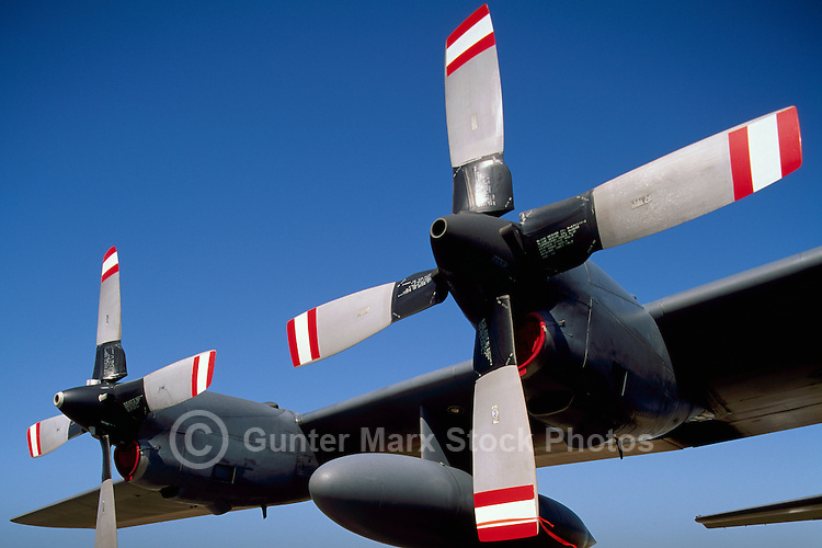 Propellers on Canadian Forces Lockheed C-130 Hercules Turboprop Military Transport Aircraft - at Abbotsford International Airshow, BC, British Columbia, Canada