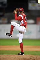 Batavia Muckdogs pitcher Kyle Keller (25) delivers a pitch during a game against the Mahoning Valley Scrappers on June 23, 2015 at Dwyer Stadium in Batavia, New York.  Mahoning Valley defeated Batavia 11-2.  (Mike Janes/Four Seam Images)