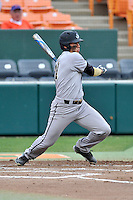 Right fielder McClain Bradley (21) of the Wofford College Terriers bats in a game against the Clemson University Tigers on Tuesday, March 1, 2016, at Doug Kingsmore Stadium in Clemson, South Carolina. Clemson won, 7-0. (Tom Priddy/Four Seam Images)