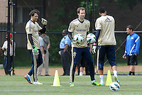 Prior to playing Manchester City in a friendly game at Busch Stadium, home of the St Louis Cardinals baseball team, Chelsea held a closed practice at Robert R Hermann Stadium on the campus of Saint Louis University..Petr Cech and the goalkeepers go through drills.