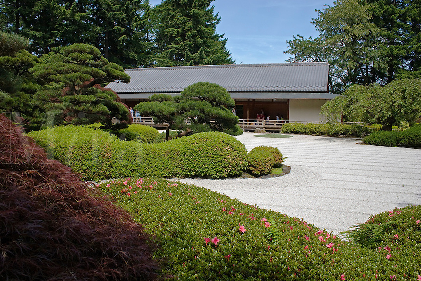 The Tea House with manicured trees & plants at the Portland Japanese garden, considered the most authentic outside of Japan - PORTLAND, OREGON.