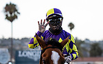 AUG 08: Current leadings rider Umberto Rispoli celebrates 4 wins at Del Mar Thoroughbred Club in Del Mar, California on August 02, 2020. Evers/Eclipse Sportswire/CSM