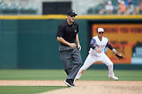 Third base umpire Brennan Miller works the International League game between the Durham Bulls and the Charlotte Knights at BB&T BallPark on May 27, 2019 in Charlotte, North Carolina. The Bulls defeated the Knights 10-0. (Brian Westerholt/Four Seam Images)
