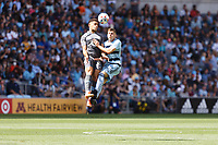 ST. PAUL, MN - AUGUST 21: Hassani Dotson #31 of Minnesota United FC and Remi Walter #54 of Sporting Kansas City battle for the ball during a game between Sporting Kansas City and Minnesota United FC at Allianz Field on August 21, 2021 in St. Paul, Minnesota.