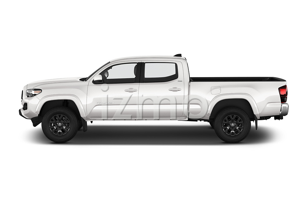 Car driver side profile view of a 2020 Toyota Tacoma SR5 4 Door Pick Up