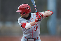 Justin Folz (25) of the St. John's Red Storm at bat against the Western Carolina Catamounts at Childress Field on March 12, 2021 in Cullowhee, North Carolina. (Brian Westerholt/Four Seam Images)