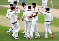 Jas Singh (C) making his debut for Kent is congratulated after taking the wicket of Ali Orr during Kent CCC vs Sussex CCC, LV Insurance County Championship Group 3 Cricket at The Spitfire Ground on 11th July 2021