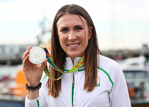 Annalise Murphy with her silver medal from Rio 2016