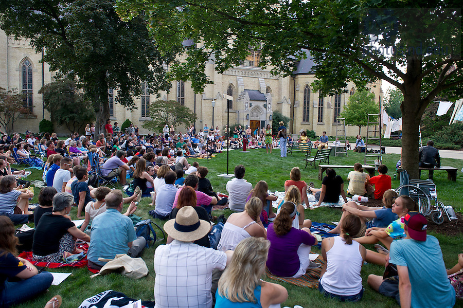"""Aug, 26, 2013; Actors from the Young Company perform Shakespeare's """" The Comedy of Errors"""" in the Main Building Quad (in front of the Golden Dome). Photo by Barbara Johnston/University of Notre Dame"""