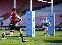 24th April 2021; Kingsholm Stadium, Gloucester, Gloucestershire, England; English Premiership Rugby, Gloucester versus Newcastle Falcons; Ruan Ackermann of Gloucester runs in Gloucester's second try
