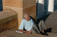 Ex PM? - Enjoying a quiet moment in the winter sun at Darling Harbour, Sydney.