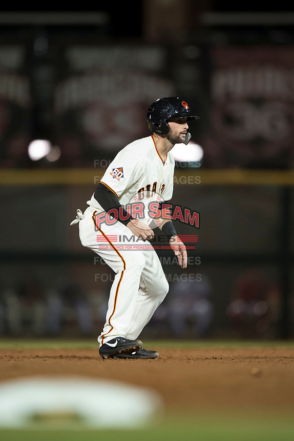 Scottsdale Scorpions catcher Matt Winn (16), of the San Francisco Giants organization, leads off second base during an Arizona Fall League game against the Mesa Solar Sox on October 9, 2018 at Scottsdale Stadium in Scottsdale, Arizona. The Solar Sox defeated the Scorpions 4-3. (Zachary Lucy/Four Seam Images)