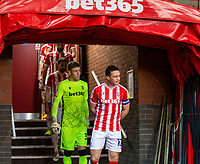 2nd January 2021; Bet365 Stadium, Stoke, Staffordshire, England; English Football League Championship Football, Stoke City versus Bournemouth; James Chester of Stoke City looks out at the bad weather