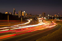 Austin Rush Hour Traffic runs through Downtown Austin, Texas.