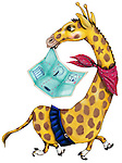 Illustration of giraffe with map in mouth over white background