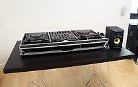 Pictured: The decks used by Leroy Fer at his home near Swansea, Wales, UK.<br /> Re: Footballer Leroy Fer of Swansea City FC is a keen DJ.