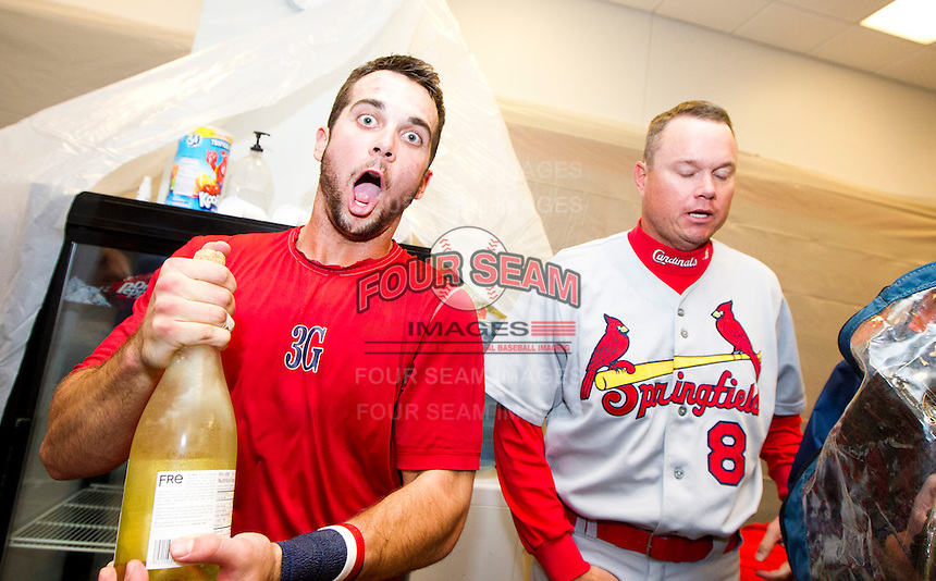 Greg Garcia (7) and Manager Mike Shildt (8) of the Springfield Cardinals celebrate in the clubhouse after game 4 of the Texas League Championship Series against the Frisco RoughRiders at Dr. Pepper BallPark on September 15, 2012 in Frisco, TX.  The Cardinals became the 2012 Texas League Champions after defeating the RoughRiders 2-1. (David Welker/Four Seam Images)