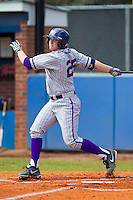 Brett Gemmell (25) of the High Point Panthers follows through on his swing against the Presbyterian Blue Hose at the Presbyterian College Baseball Complex on March 3, 2013 in Clinton, South Carolina.  The Blue Hose defeated the Panthers 4-1.  (Brian Westerholt/Four Seam Images)