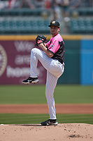 Charlotte Knights starting pitcher Jimmy Lambert (13) in action against the Gwinnett Stripers at Truist Field on May 9, 2021 in Charlotte, North Carolina. (Brian Westerholt/Four Seam Images)
