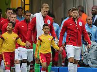 England Captain Steven Gerrard leads the team out.