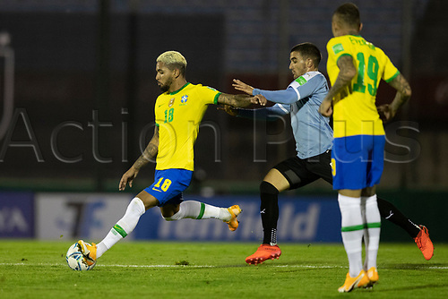 17th November 2020; Centenario Stadium, Montevideo, Uruguay; Fifa World Cup 2022 Qualifying football; Uruguay versus Brazil;  Mauro Arambarri of Uruguay as Douglas Luiz of Brazil takes a shot on goal