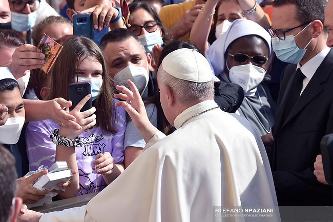 Pope Francis public audience at the San Damaso courtyard in The Vatican on June 16, 2021.
