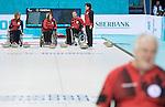 Sochi 2014 - Para Ice Hockey // Para-hockey sur glace.<br /> Canada's Wheelchair Curling Team practices before the games begin // L'équipe canadienne de curling en fauteuil roulant s'entraîne avant le début des Jeux. 07/03/2014.